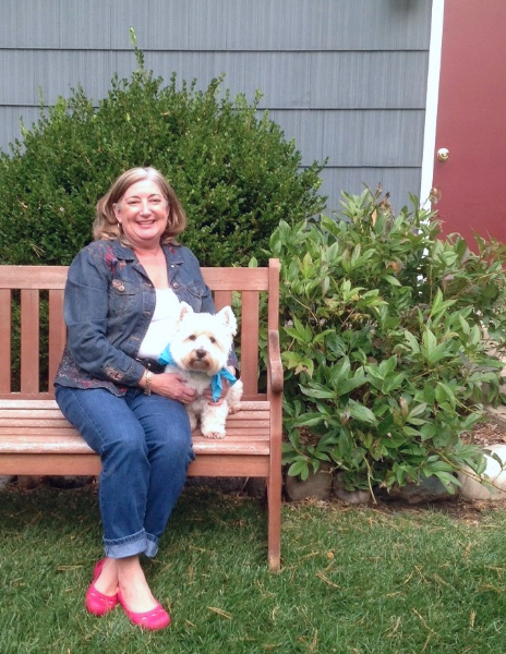 At my White Lake home with my Westie, Daisy