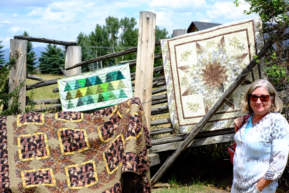 Here I am admiring some great quilts!