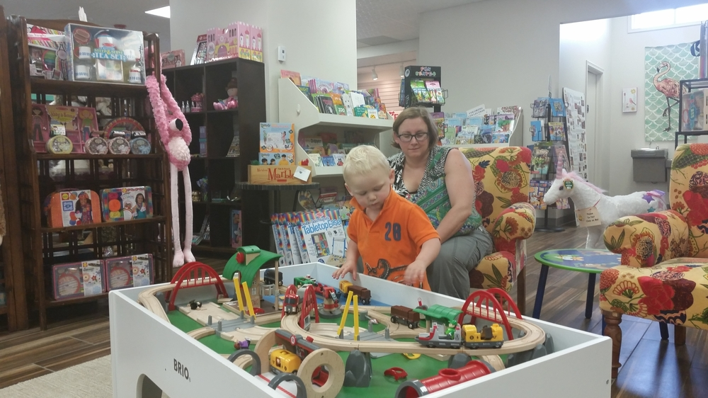 My grandson enjoyed the train table too!