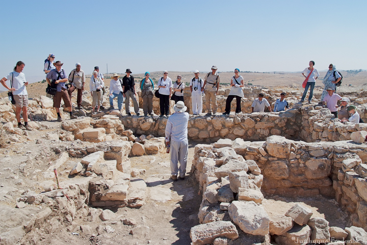 European archaeologists visiting Khirbat 'Ataruz as part of their study and research tour, 2010.