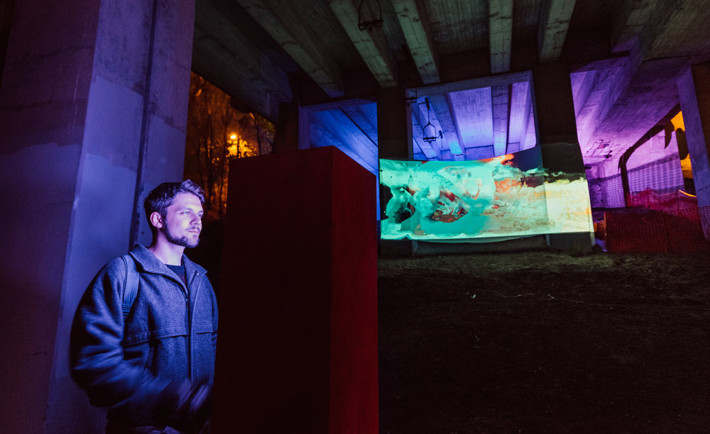 Viewers interacting with SEMBLANCE by Stephanie Kuse, part of Nuit Blanche 2018. Photos by Brandon white (www.northern-lightning.com)