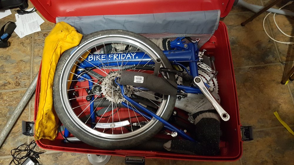 It's important every piece fits exactly with our Bike Friday folders.  Care must be taken that nothing gets bent.   Weight is important as well, the bikes and case and extras have to be less than 50 lbs.