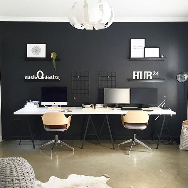 Dual desks! 😍 love this from @susieqdesign. Do you work alongside your partner??