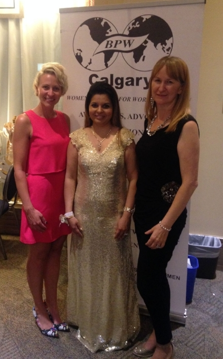 Megan and Audrey with Jenny, President of B.P.W. Calgary