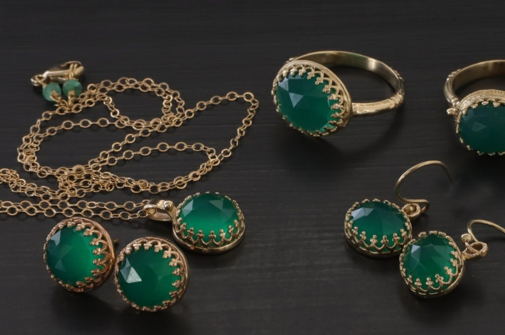 14k Rose-Cut Green Calcite Collection