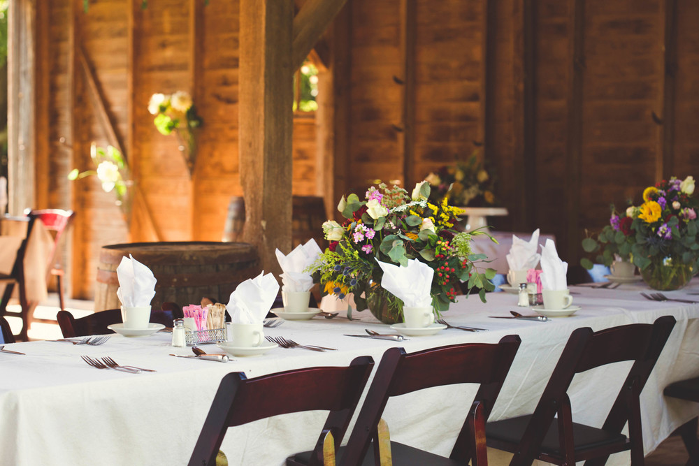 After the intimate ceremony at the Wedding Tree, a lovely dinner reception followed in the 120-year-old barn to celebrate with friends and family members.