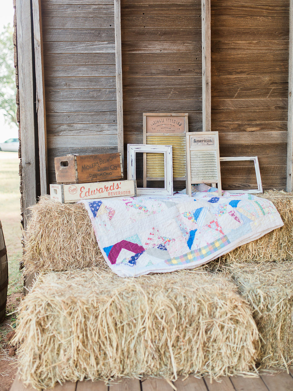 Our hay bales were a great addition to this country chic wedding