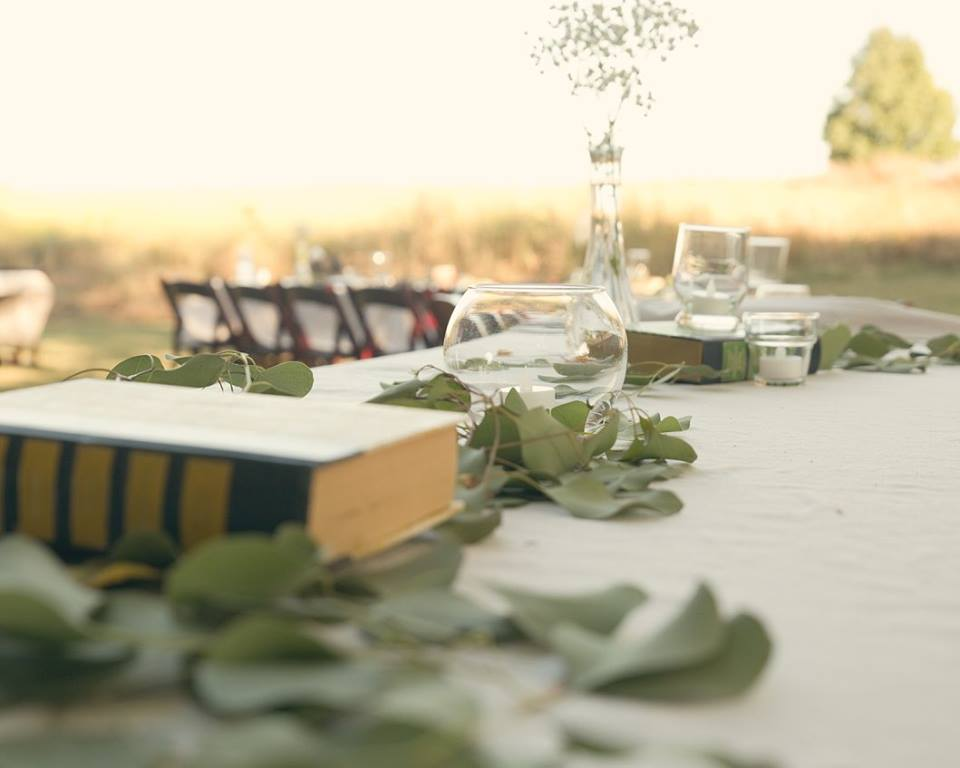 Long tables lined The Woods and were filled with eucalyptus and vintage decor