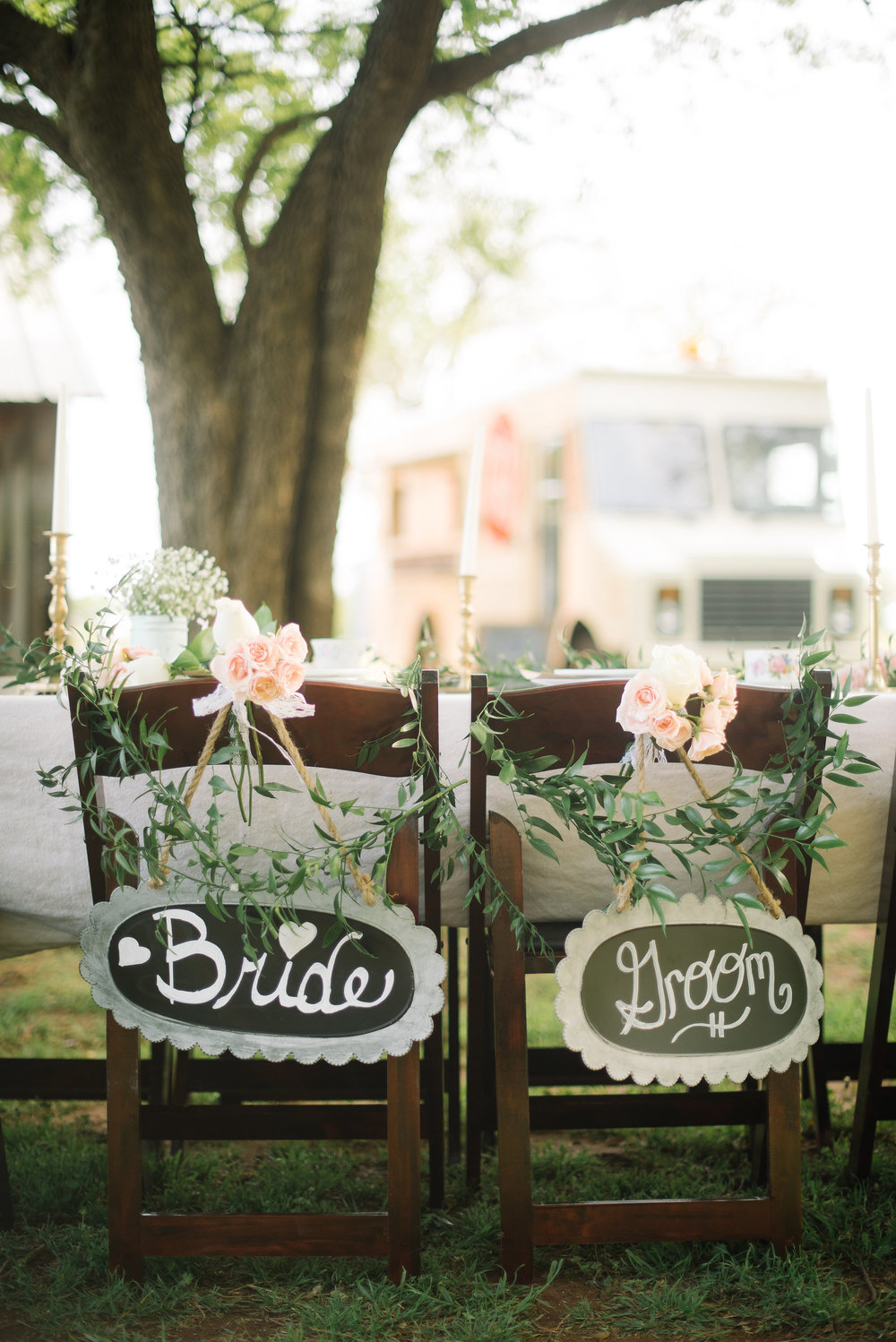 Adorable signs--just so you know where the two most important guests are sitting!