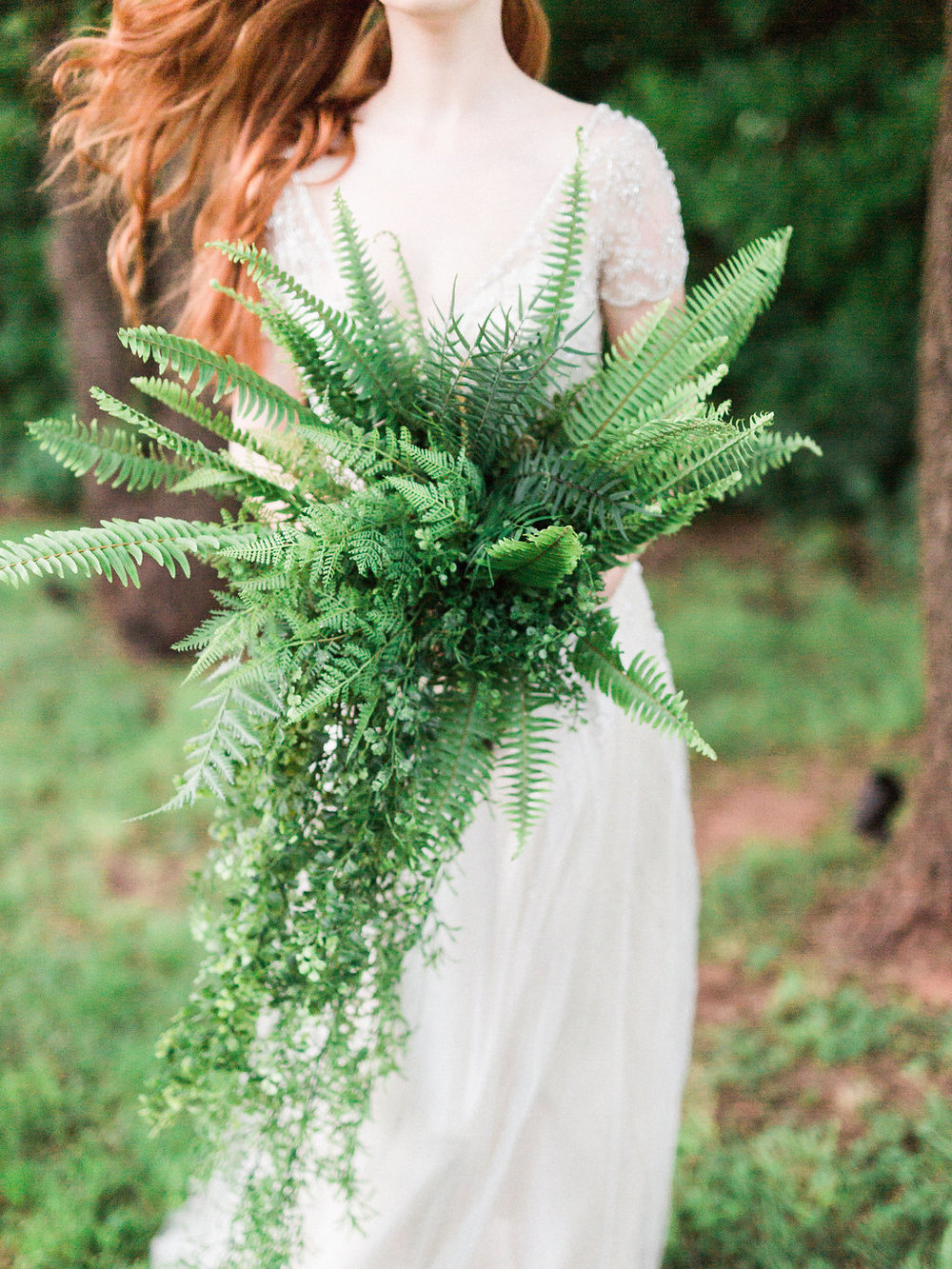 The most beautiful greenery and ferns made a fresh, unique bouquet!