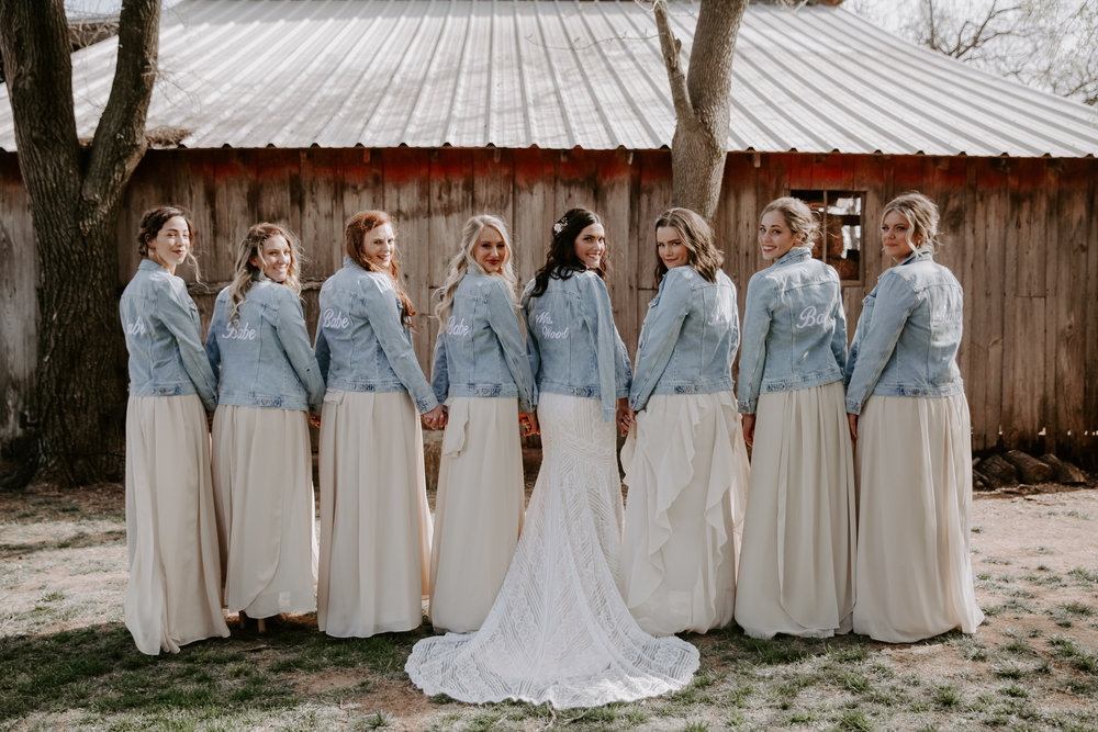 Jenny Yoo, Bridesmaids, Bridesmaids Dressses, Old Navy, Denim Jackets, Outdoor Venue