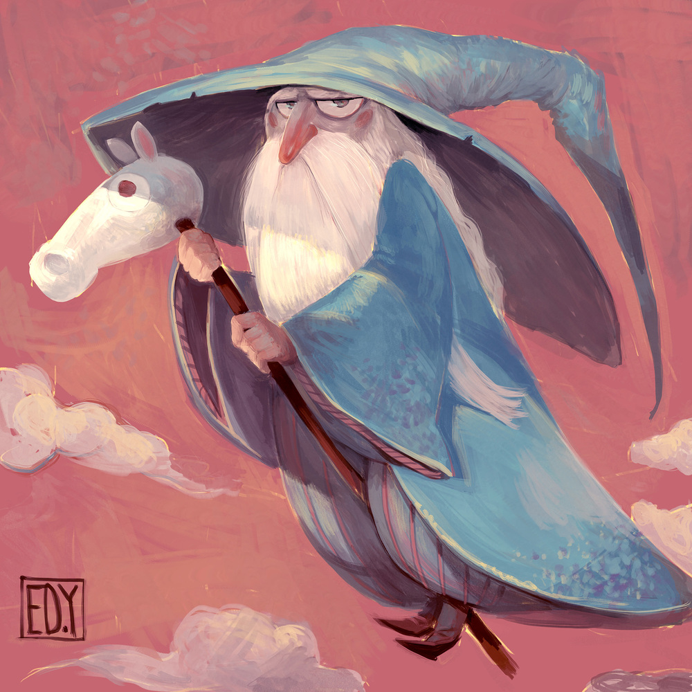 Gandalf : Sketchdailies Gandalf crossed with a witch? I gave him an annoyed expression partly because I tried to draw him on a full horse, but it obscured him too much. So now he gets a horse-on-a-stick-a-jig. Yay for randomness.