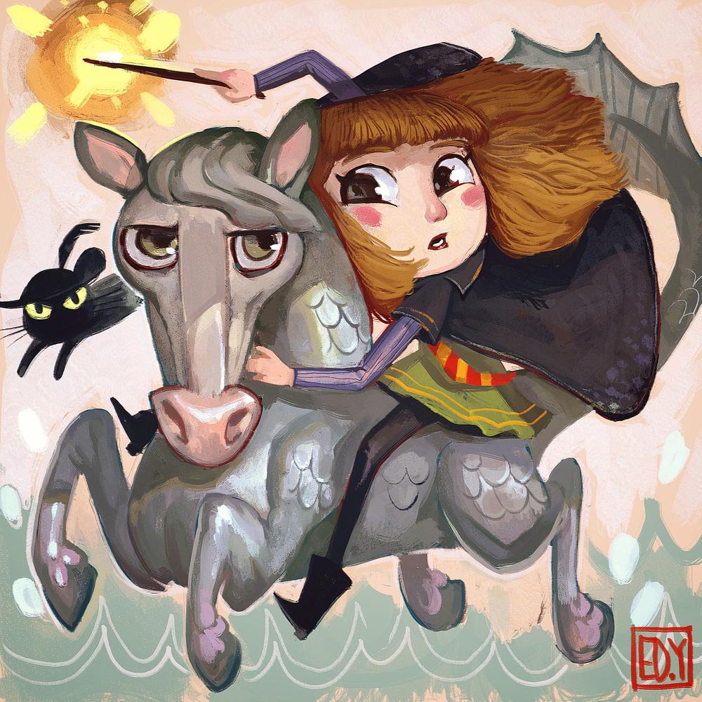 Hermione + Kelpie : Sketchdailies I'm dubbing this Kelpione or Herkelpie, since i missed the Kelpie one yesterday. :p