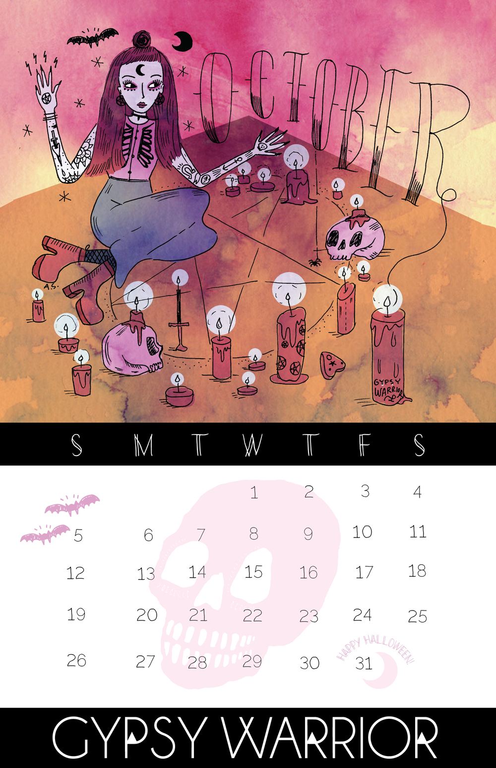 (Happy) October calendar for Gypsy Warrior!