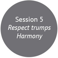 The goal of harmony should come with a warning label! Many of us are in teams that value harmony and good relationships over everything else. In this session we look at the harmony as a barrier to performance and respect.