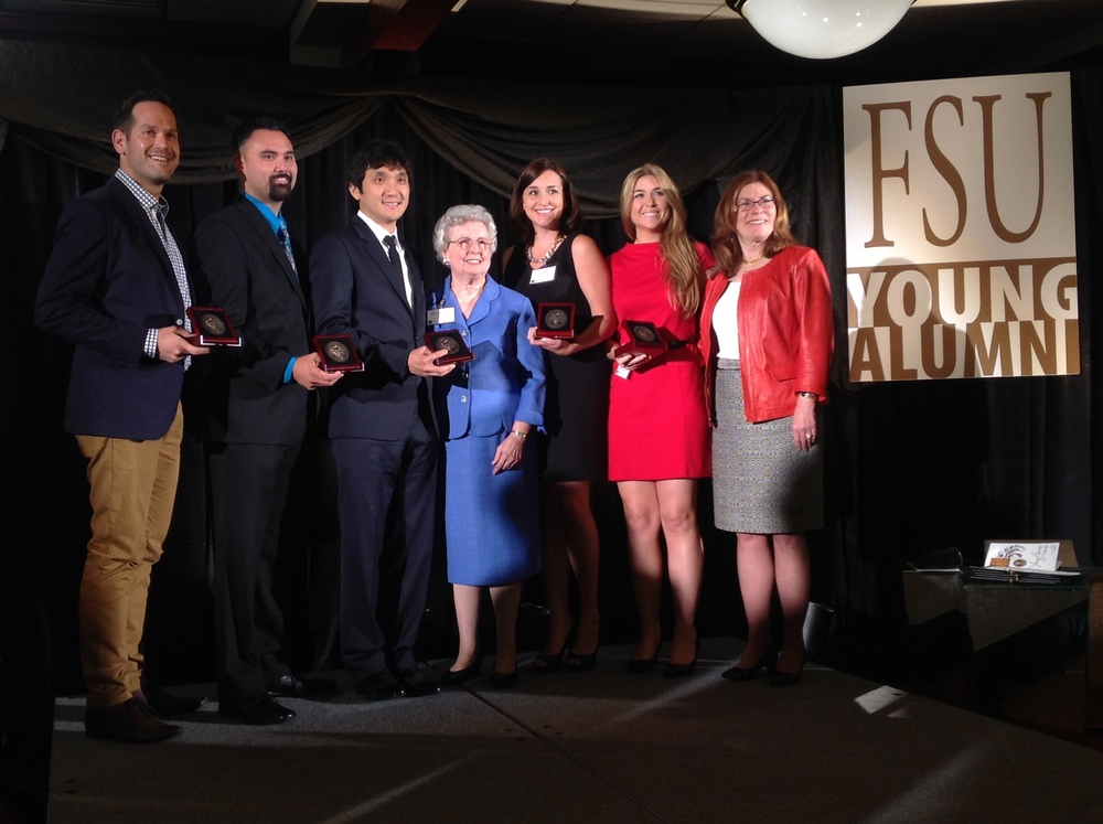 Pictured at the 2014 Young Alumni Awards Dinner (left to right): Shayne Mifsud, Kevin Garvey, Wonkak Kim, Donna Lou Askew, Layla Dowdy, Carisa Champion-Lippmann and FSU Interim President Garnett Stokes.
