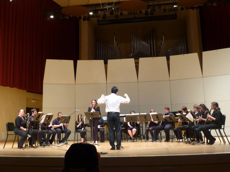 TTU Clarinet Ensemble performing Steve Reich's NY Counterpoint at TTU Center Stage Concert with the composer in presence