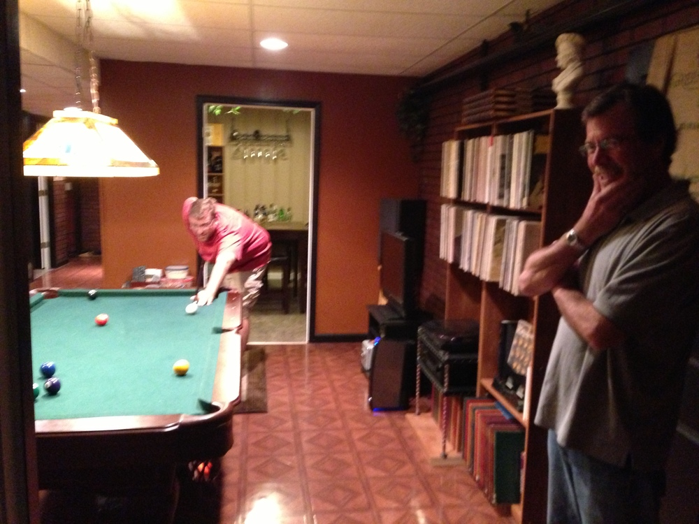 Peter and Brad enjoying a pool game at my house during their visit to Cookeville