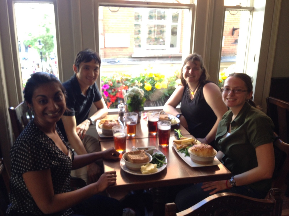 with TTU clarinet students at a gastropub near the Covent Garden