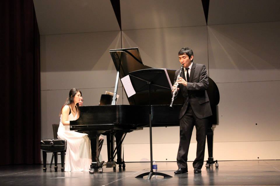 Kim-Choi Duo performing at the Rudder Theatre