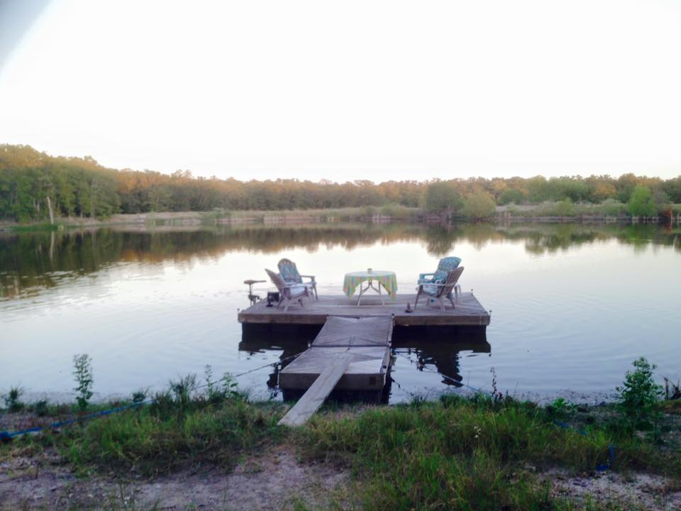 Our friend Peter had this beautiful private lake behind his house. The dock floats around!