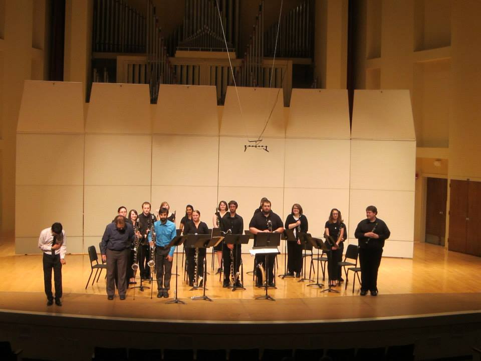 Sqwonk performing with TTU Clarinet Ensemble