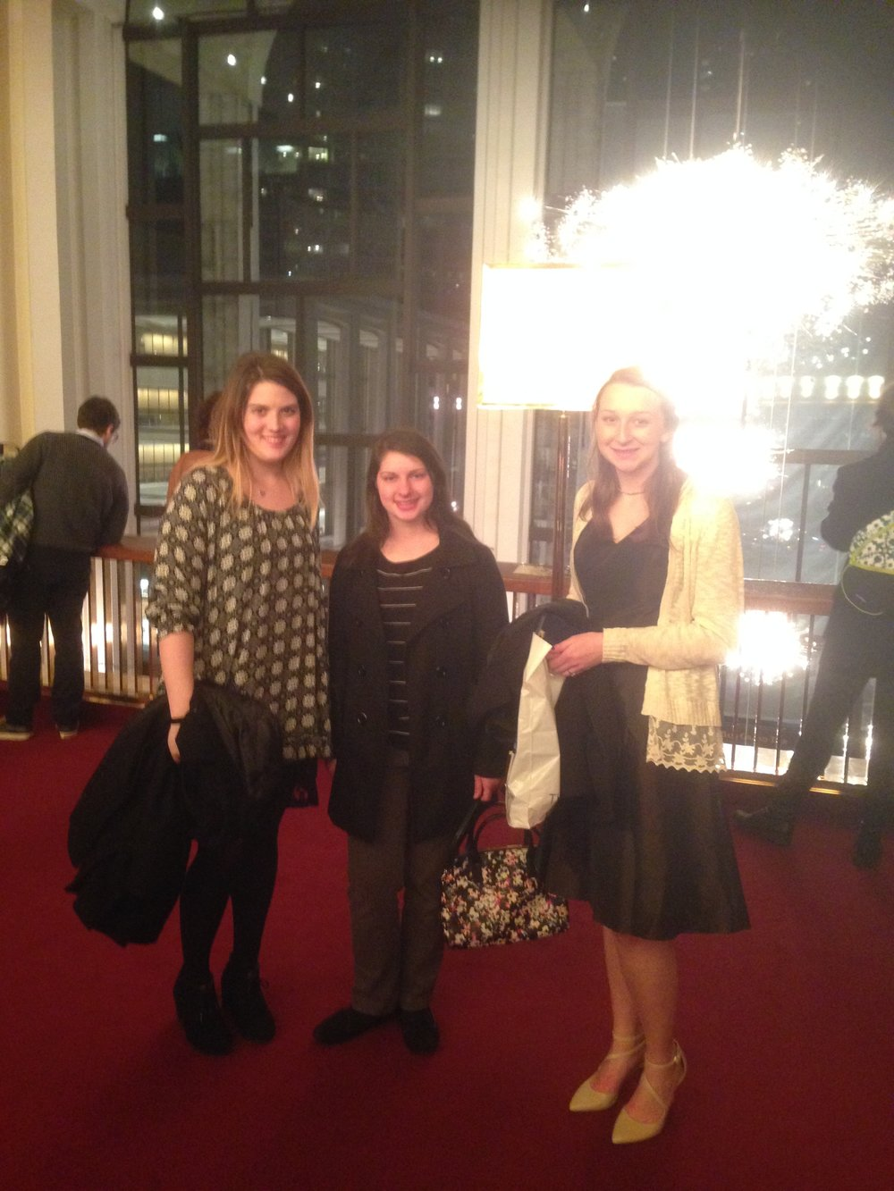 Students getting ready to see Mozart's Marriage of Figaro at Met