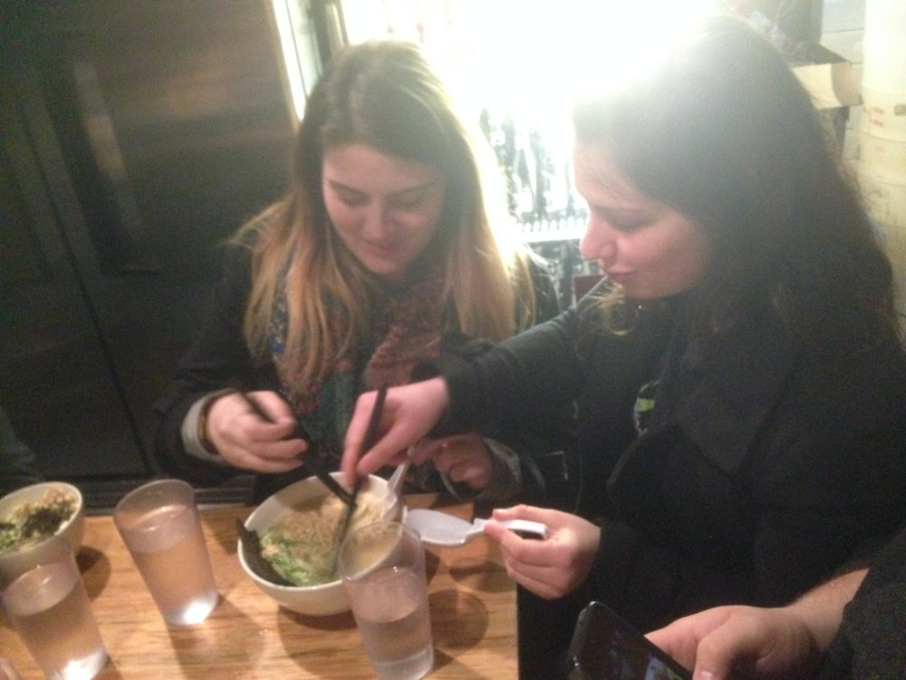 Some struggle in using chopsticks at Totto Ramen where they don't have forks, etc.