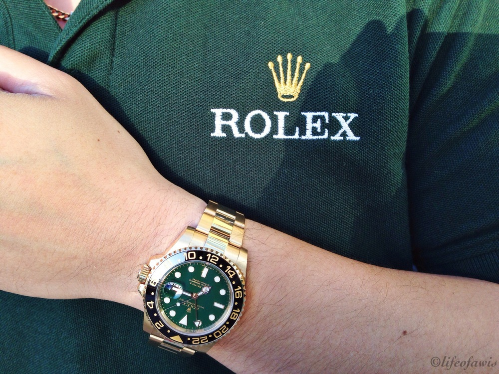 Ready for the GTG... with my 18K yellow gold GMT-Master II (ref. 116718) and matching Rolex polo shirt.