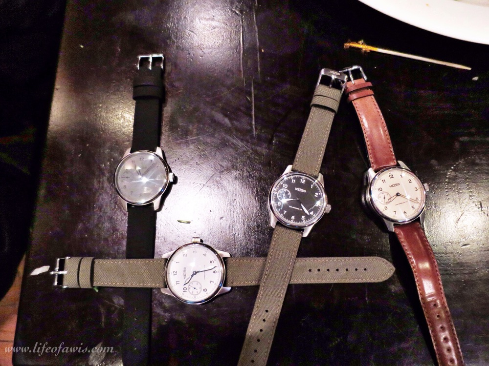 "My attempt at spelling ""LA"" with these four Weiss watches."