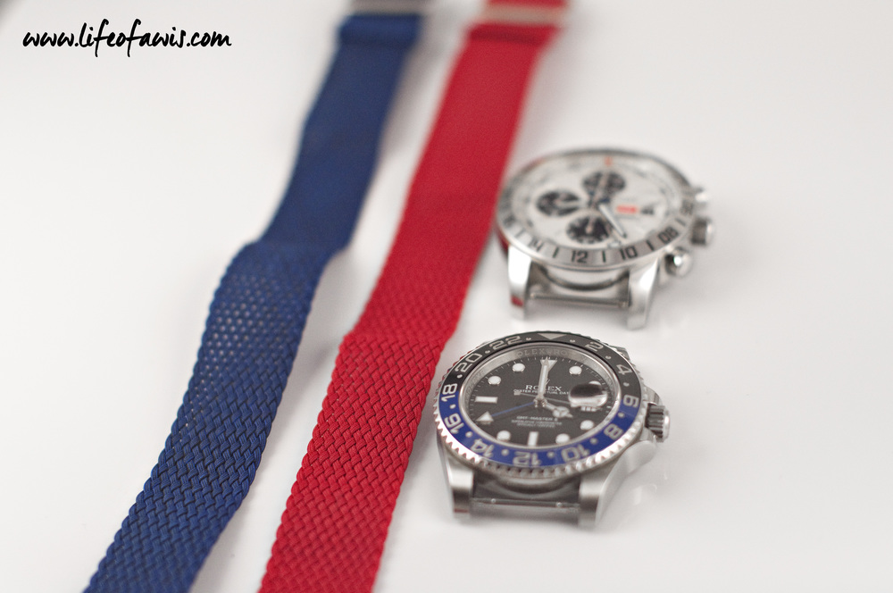 The two watches used to match these perlon straps were the Rolex GMT-Master II and the Chopard Mille Miglia.
