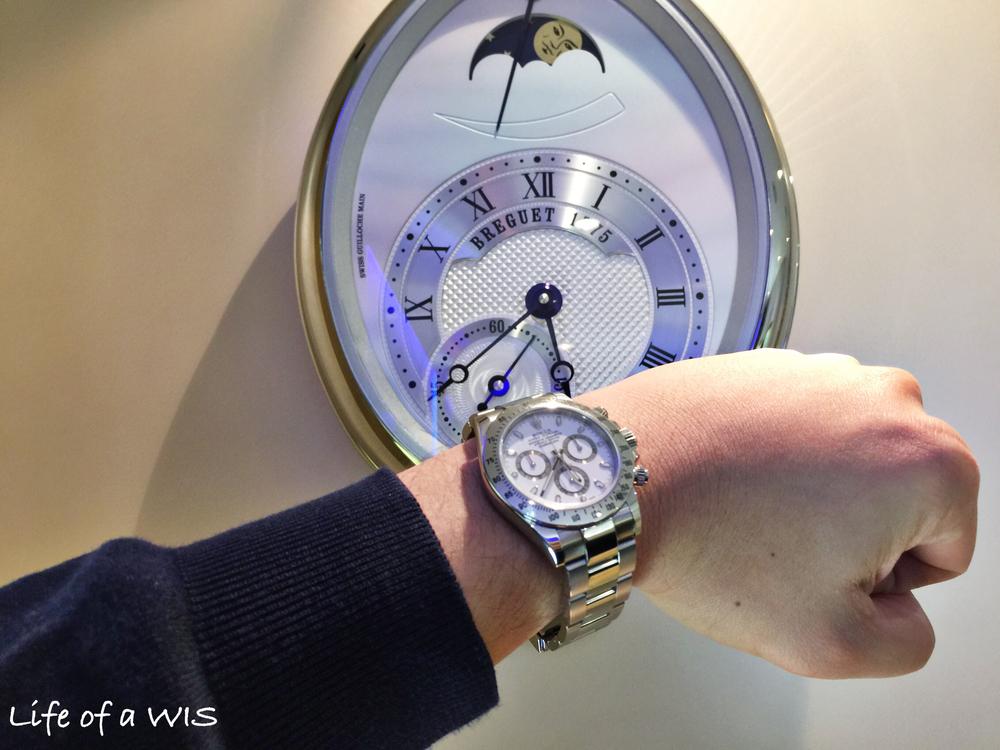A wrist shot with the Breguet clock.