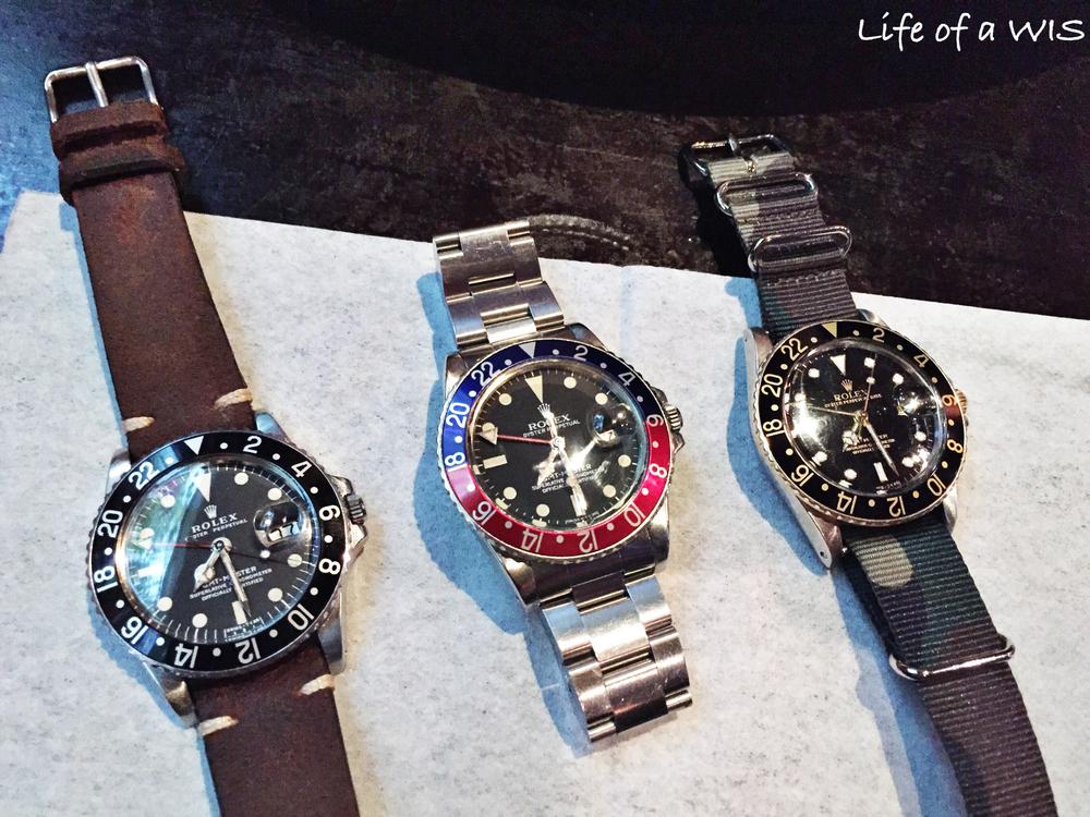 Vintage Rolex GMTs.