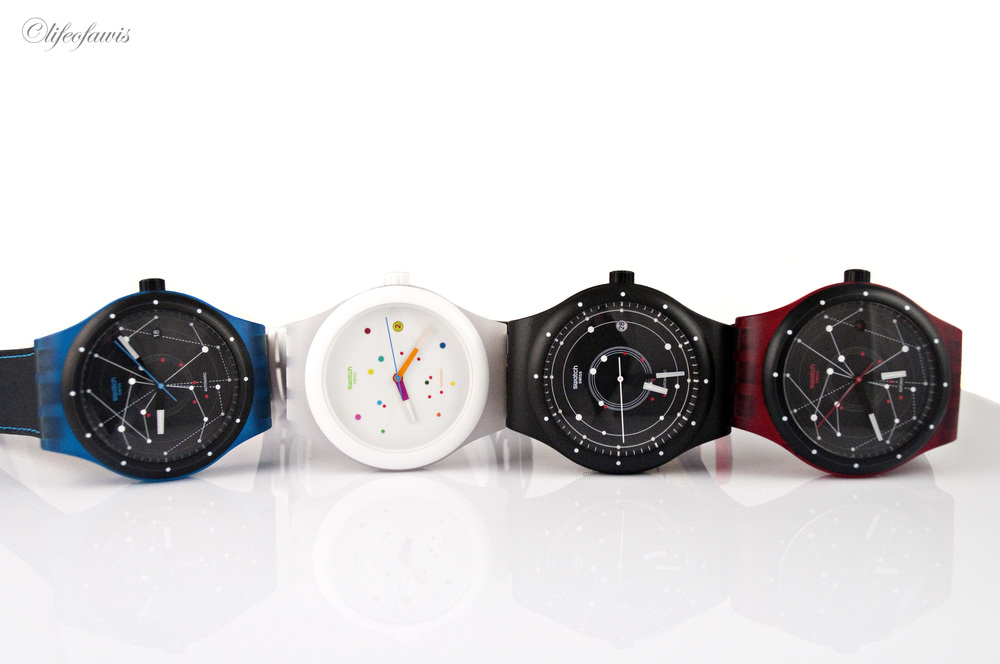 The first four variations of the Swatch Sistem51.