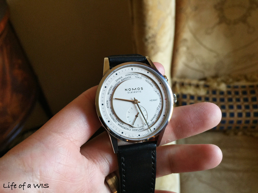 My favorite Nomos Glashutte, the Zurich Worldtimer, $6,100.  Prefer it in blue though...