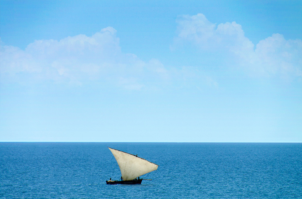 A  dhow , with its characteristic lanteen sail