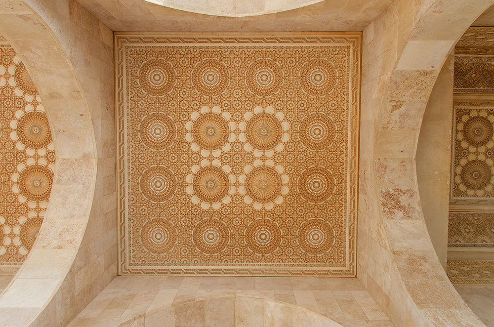 Colonnade vault ceiling; shot looking straight up. Lying on my back would have been easier on my neck. Hassein II Mosque, Casablanca.