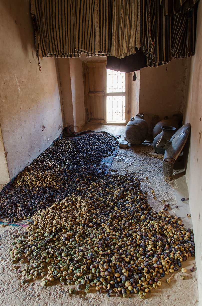 Piles of figs in a large house
