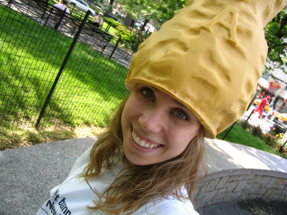 One of my temp jobs was to promote Peanut Farmers of America. I had to walk around Manhattan with this (heavy) foam peanut on my head. I do not recommend it.