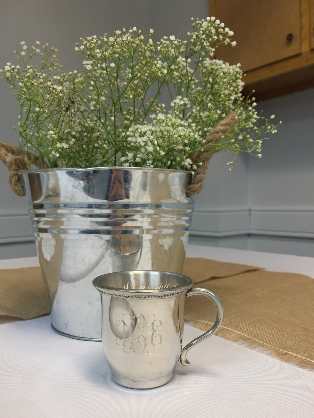 Silver baby cups as toothpick holders!