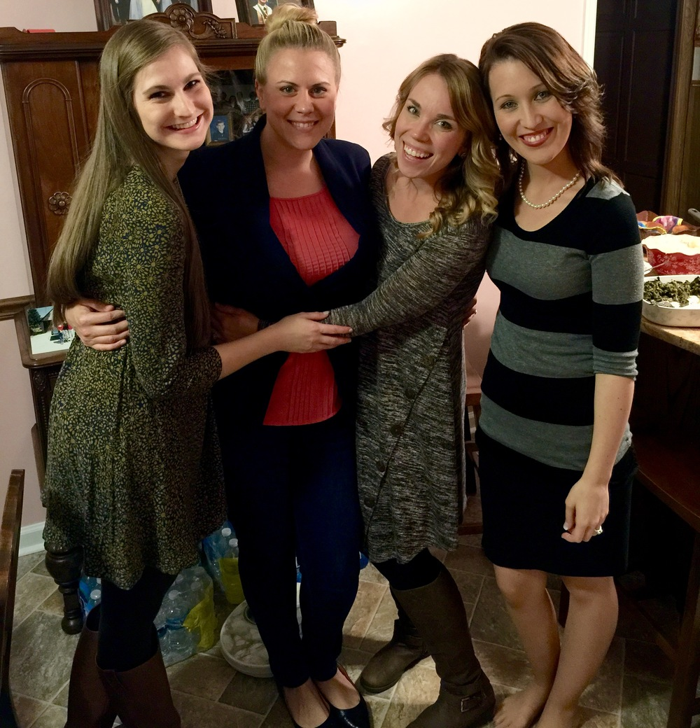 Our yearly photo, just us girls. I didn't take a single picture at my family's Thanksgiving dinner. Obviously, I didn't take this one either. ;) Our cousin, Christabel, my sister-in-law, Sarah, and our cousin, Susie.