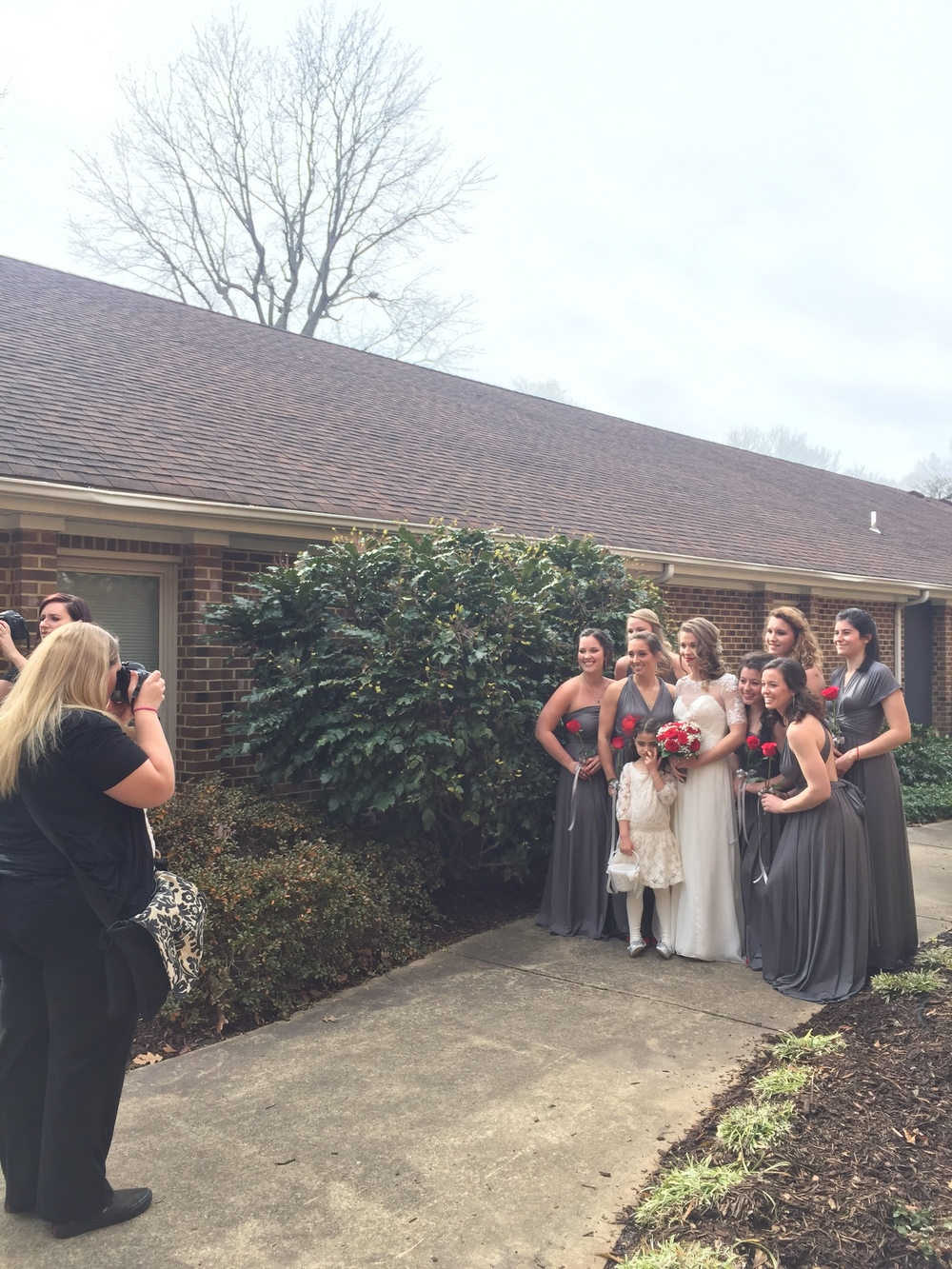 Oh, this bridal party! Their dresses were from Etsy and could be tied in many different ways. I loved Haleigh's color choices!