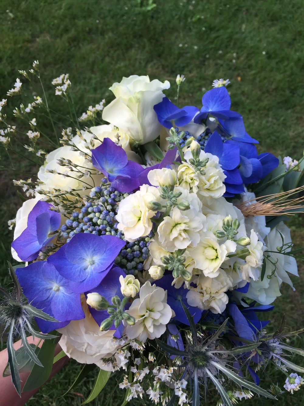 Kim's mom, Barb, loves flowers. She has a massive flower garden in her back yard. Between her collection, some she purchased, and cuttings from her friends' yards, she made some killer floral arrangements. I'm a sucker for hydrangeas, especially this deep blue.