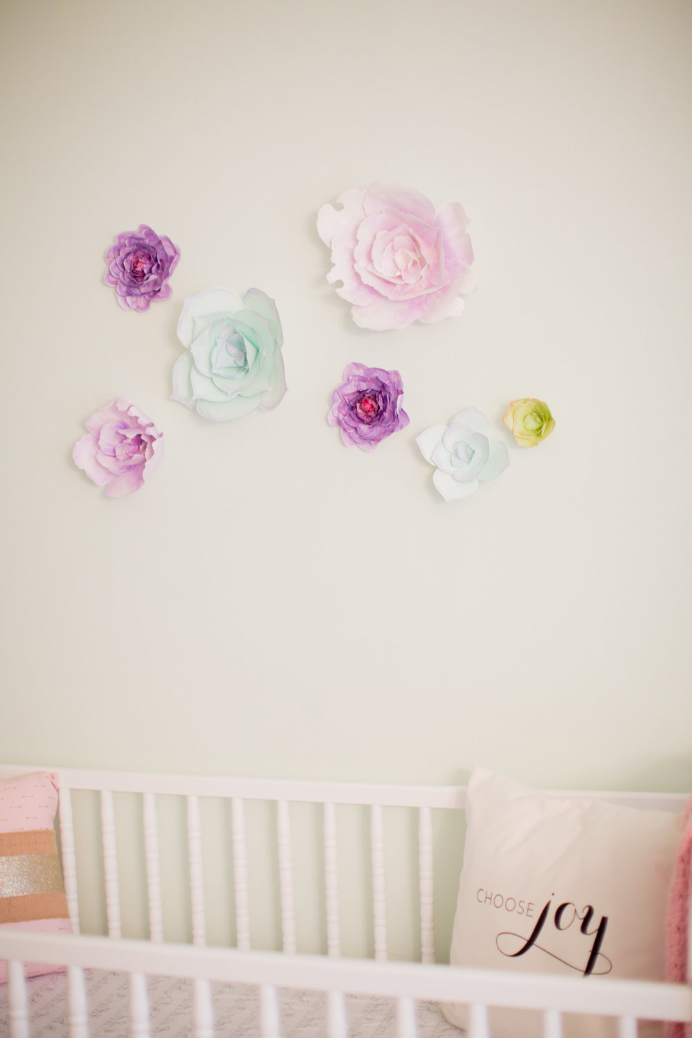 The paper flowers are from  Sweet Pear Paper . My friend, Camberly, made each flower by hand, watercolor painting and all. The Choose Joy pillow was a gift from my friend Sarah.