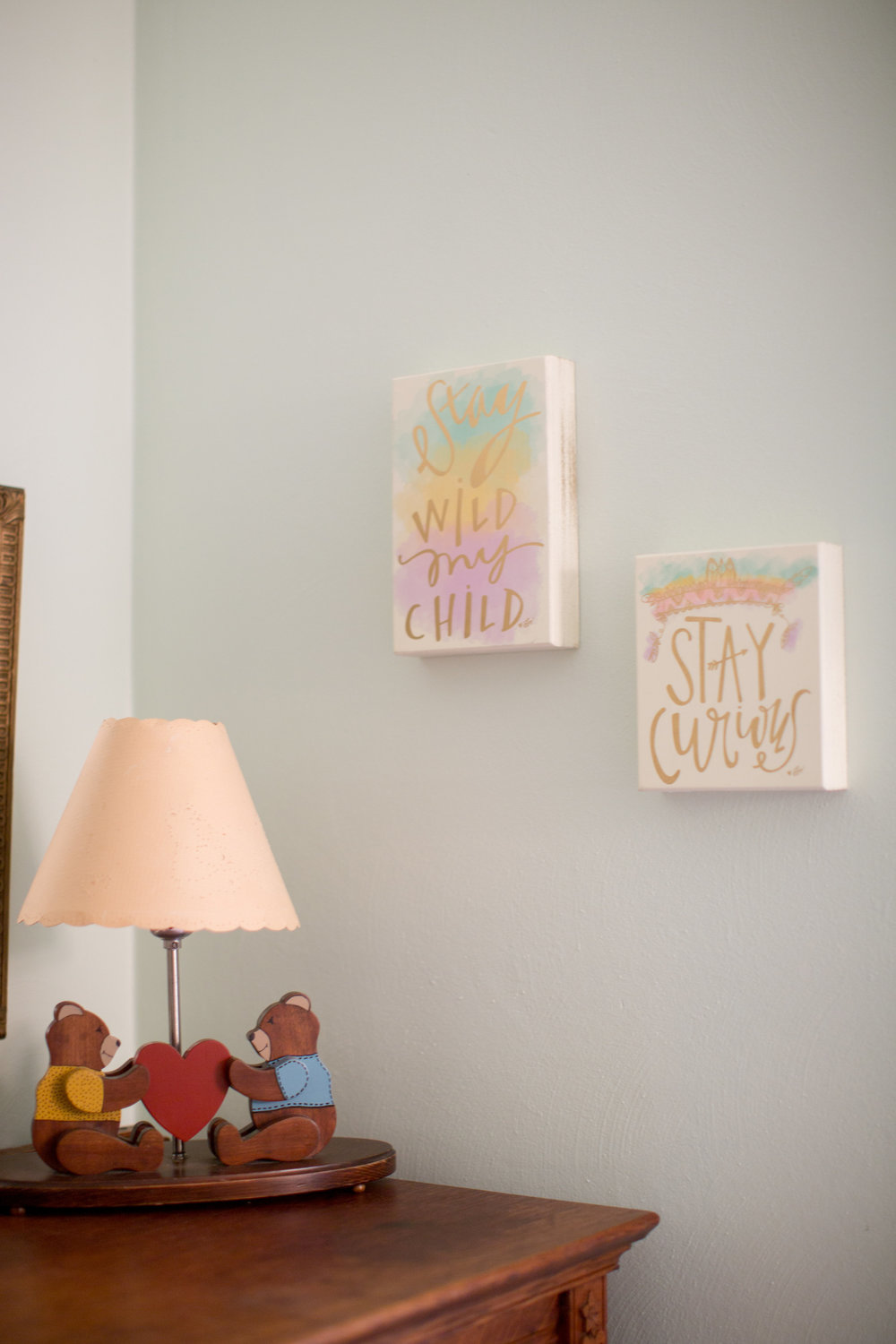 These cute little signs were from TJ Maxx. I have no clue what brand they are, but had to have them when I found them in the store. My momma insisted on getting them for us. The precious little bear lamp was made by Cal's grandpa. It was in his nursery when he was little. Since we got married, I promised him we'd always hang onto it.