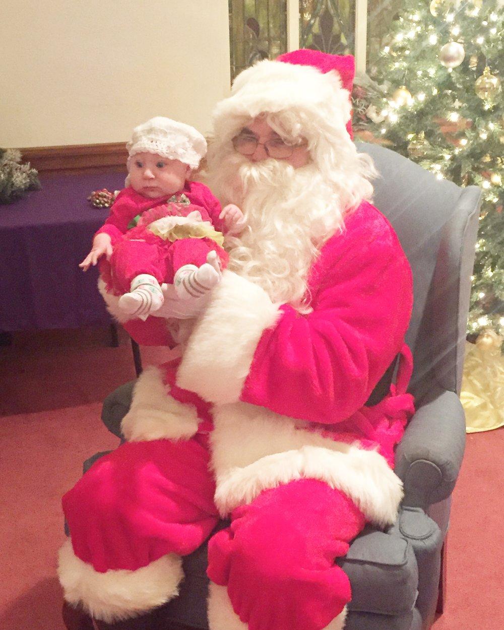 June got to meet Santa! He said she's on the Nice list.