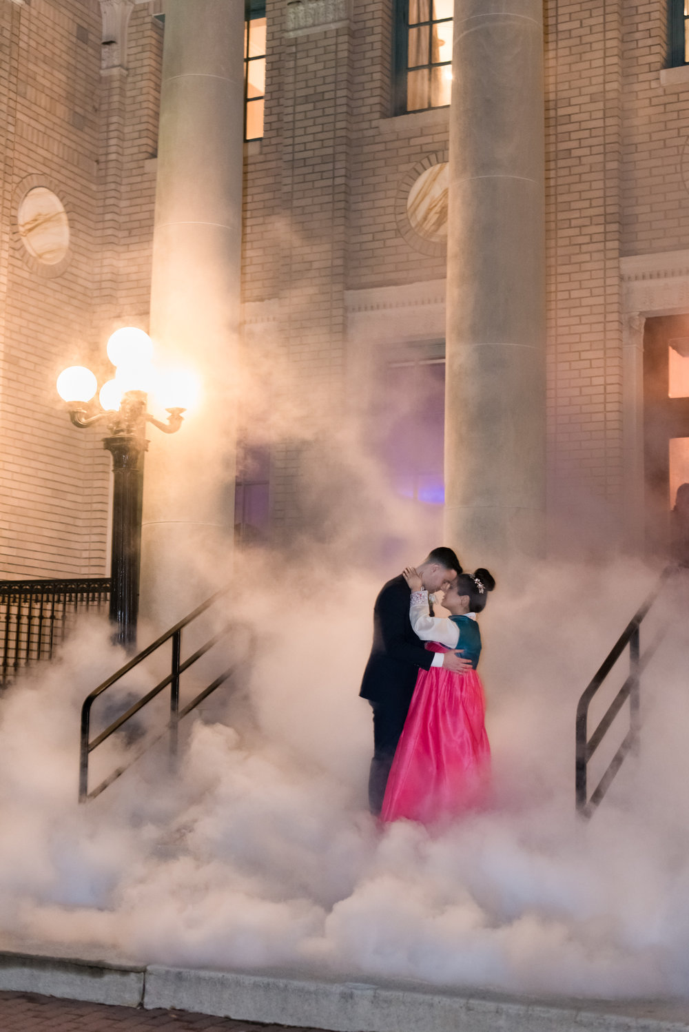 Jiney and Stephen brought in SubZero Nitro Ice Cream to do a smoke exit! On the steps of The Historic Post Office in Hampton, they made Sterling Dawn Events history!   Photo: Caitlin Gerres Photography