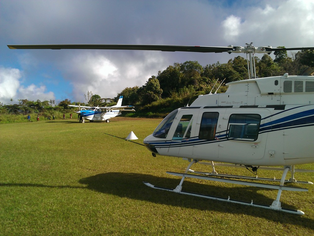 Long Ranger helicopter and Kodiak, Masa airstrip Papua New Guinea (PNG)