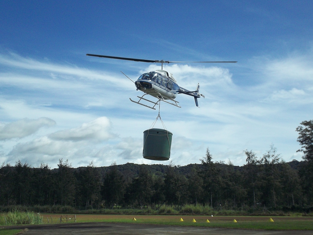 Helicopter with Tuffa tank sling load