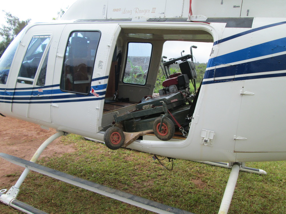 Helicopter with lawnmower load